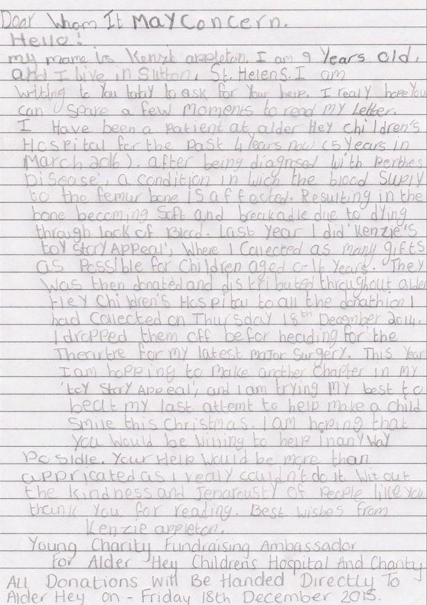 Alder Hey patient Kenzie's heartwarming toy appeal letter