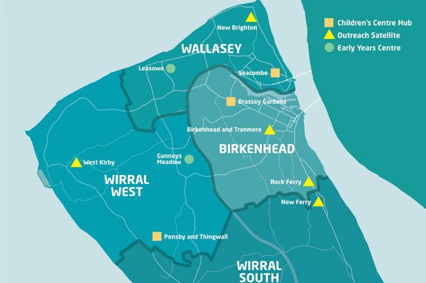 Map showing proposed Wirral children's centres