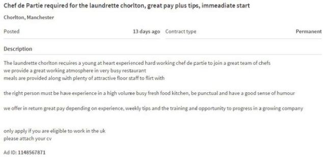 The controversial advert on Gumtree