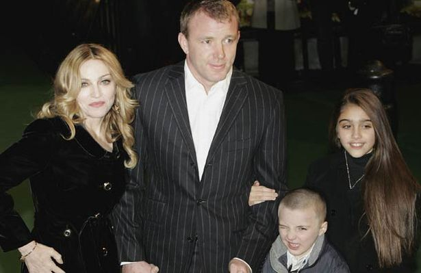 Madonna with ex-husband Guy Ritchie and children Rocco and Lourdes in Leicester Square, 2007 (Pic: Getty Images)