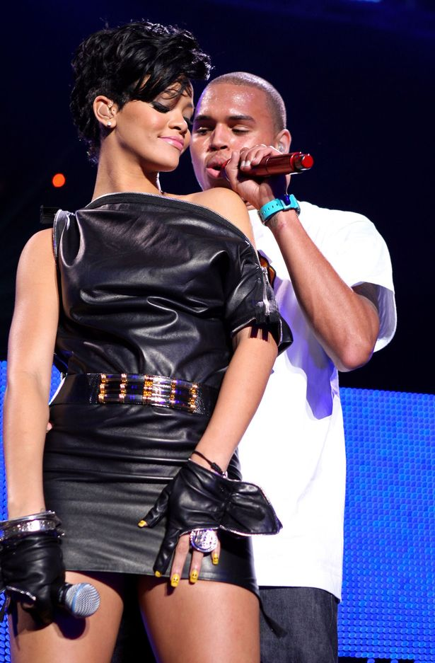 Singers Rihanna and Chris Brown perform on stage during Z100's Jingle Ball at Madison Square Garden