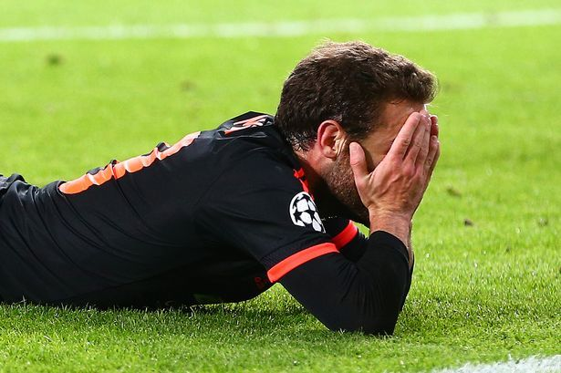 Juan Mata shows a look of dejection after missing a chance