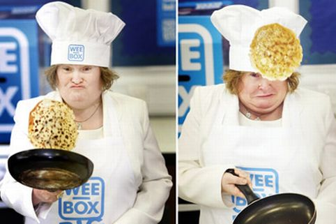 Susan Boyle flipping pancakes at St Augustine's High School in Edinburgh, during the launch of SCIAF's Wee Box, Big Change fundraising campaign
