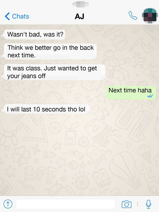 Mock up of Whatsapp messages between Adam Johnson and 15-year old girl