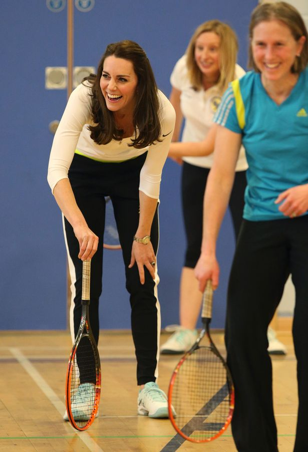 The Duchess of Cambridge takes part in a tennis workshop with Judy Murray at Craigmount High School in Edinburgh
