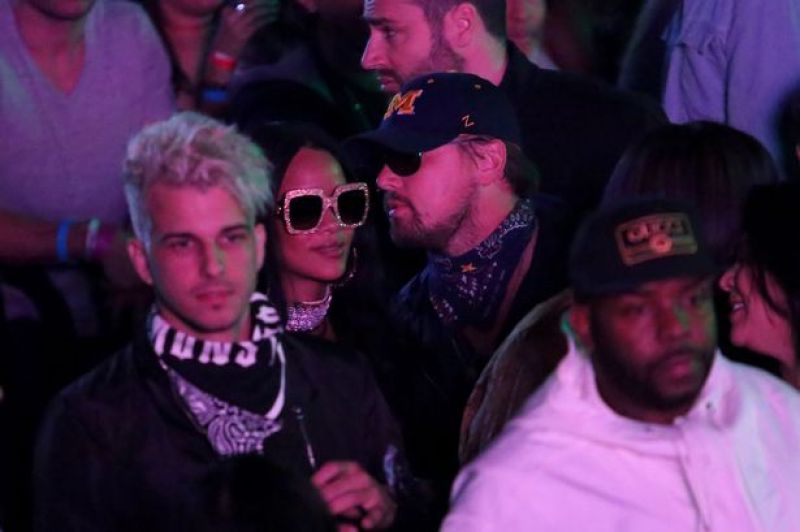 Rihanna and Leonardo DiCaprio attend the Levi's Brand And RE/DONE Levi's Present NEON CARNIVAL With Tequila Don Julio