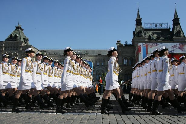 Female servicemen of the Military University of the Russian Ministry of Defence march in formation during a Victory Day military parade marking the 71st anniversary of the Victory over Nazi Germany in World War II, in Moscow's Red Square