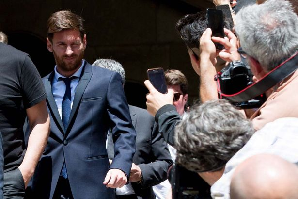 Lionel Messi leaves the courthouse after defending himself at tax evasion trial