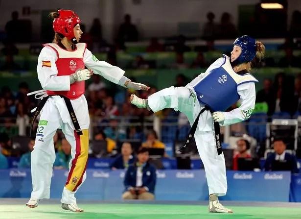 Great Britain's Jade Jones during her bout against Eva Calvo Gomez
