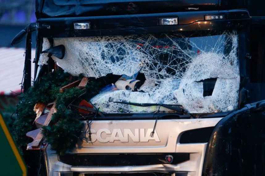 Smashed truck in Berlin Market Christmas attack
