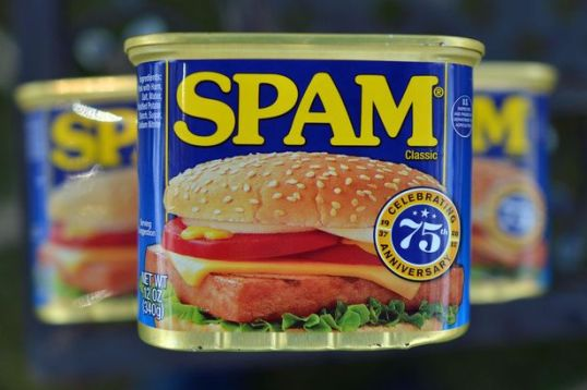 Cans of Spam meat made by the Hormel Foods