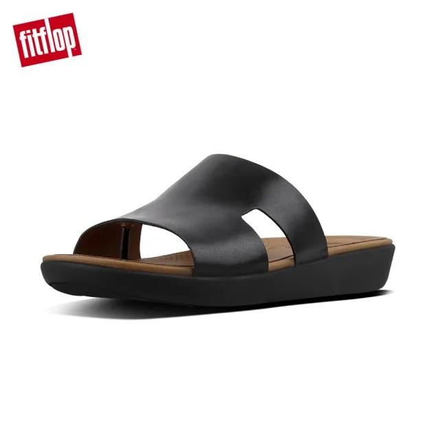 【FitFlop】H-BAR SLIDE SANDALS - LEATHER H型設計款全皮革涼鞋-女(黑色)