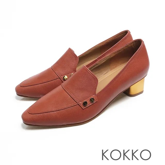 【KOKKO】小方頭柔軟感羊皮金屬粗跟鞋(磚橘紅)