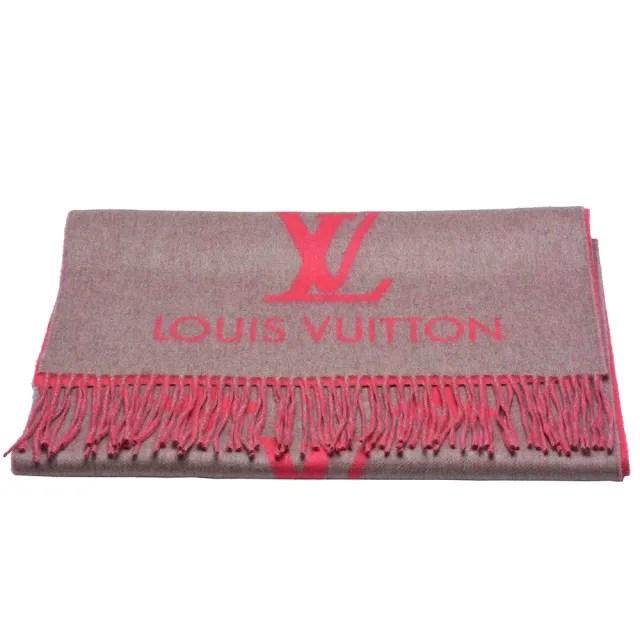 【Louis Vuitton 路易威登】M70814 經典Reykjavik系列 Monogram織花羊絨雙面針織圍巾(灰霓虹)