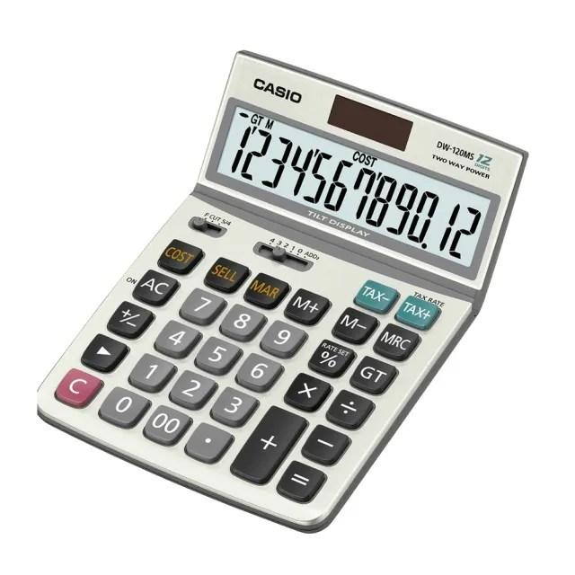 【CASIO卡西歐】12位數雙電源可掀式商用計算機(DW-120MS)