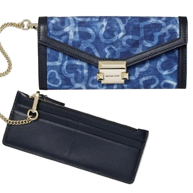 【Michael Kors】專櫃款Whitney深藍X單寧藍織紋布長夾+票卡零錢包