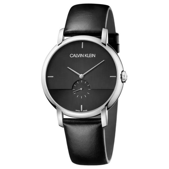 【Calvin Klein】CK 紳士簡約小秒針皮帶腕錶43mm(K9H2X1C1)