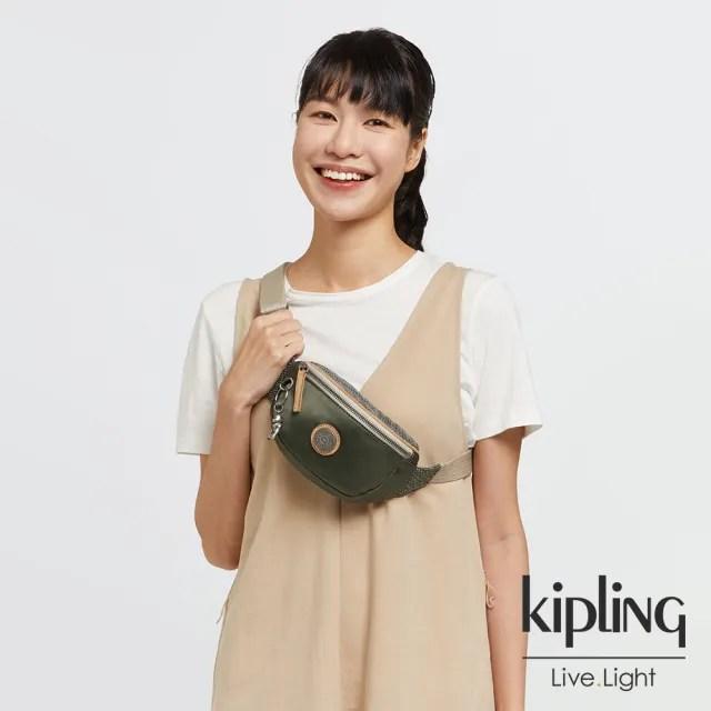 【KIPLING】沉穩質感綠小巧簡約腰包-JOSU