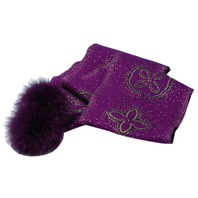 【Louis Vuitton 路易威登】M72741 Monogram Poliana金銀絲開士米絨球圍巾(深紫)