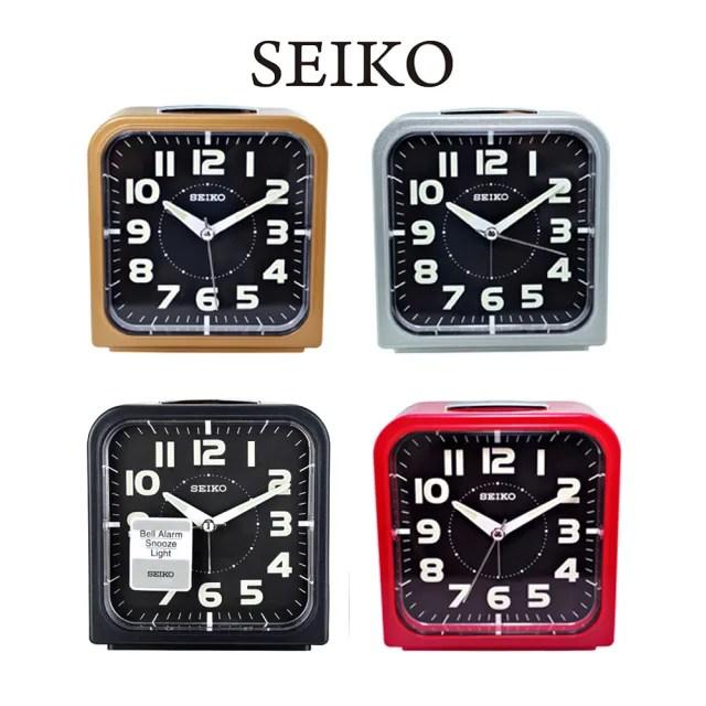 【SEIKO 精工】QHK025 時尚潮流方形夜光貪睡鬧鐘
