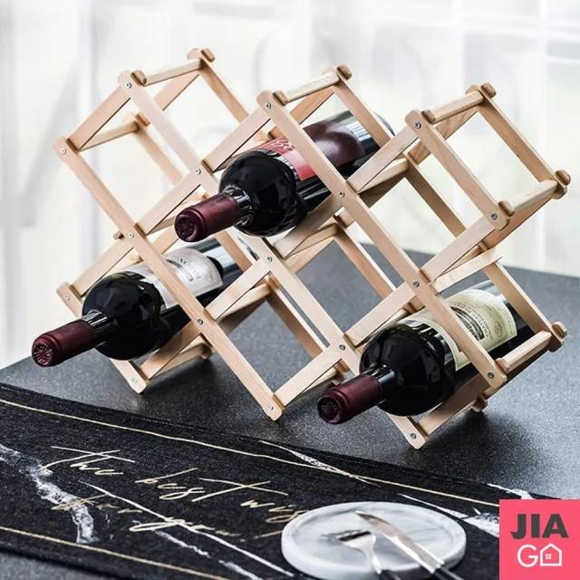 【JIAGO】十瓶裝折疊式紅酒架