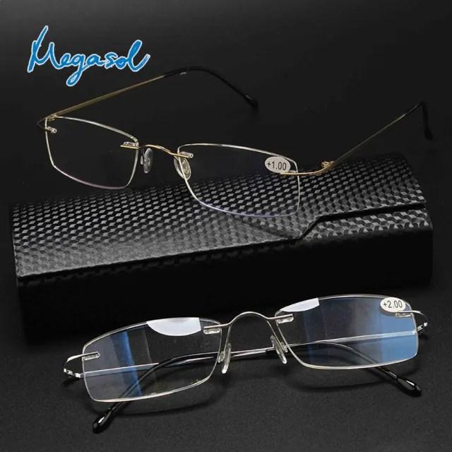 【MEGASOL】抗UV400濾藍光超輕鈦金屬老花眼鏡(經典中性超輕無框-LS-L8020-2色選)