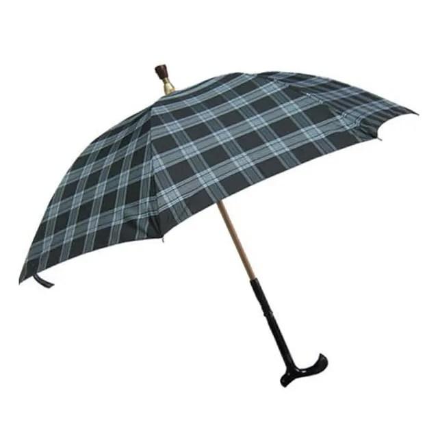 【Weiyi】分離式防風手杖傘 - 清澈藍格(傘與杖可分離使用)