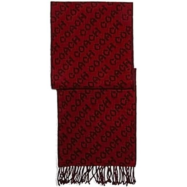 【COACH】紅x黑滿版LOGO雙面用羊毛圍巾