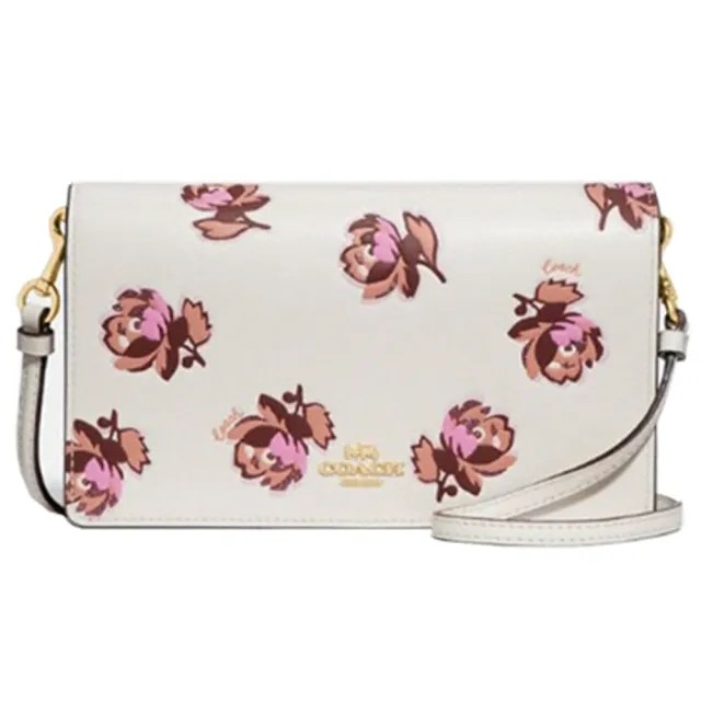【COACH】專櫃款Hayden玫瑰花朵印花WOC斜背包