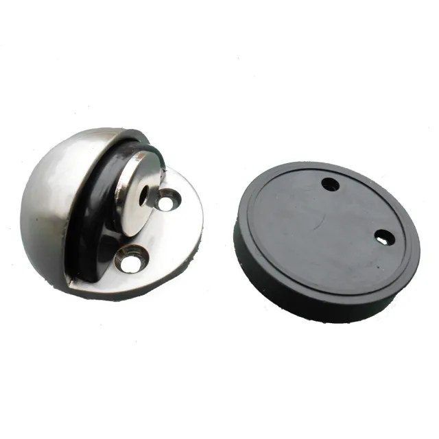 HJ001 2入裝 半圓式磁鐵門檔 半圓形門檔落地型門檔 不鏽鋼 磁石門檔 門擋橡膠戶檔(半圓緩衝磁鐵門檔)
