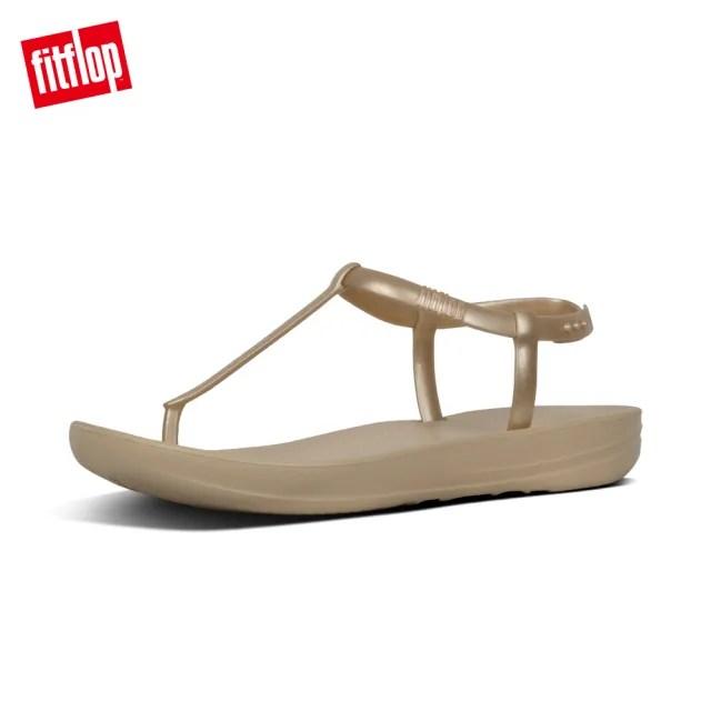 【FitFlop】IQUSHION SPLASH - PEARLISED BACK-STRAP SANDALS 輕量人體工學戲水後帶涼鞋-女(金色)