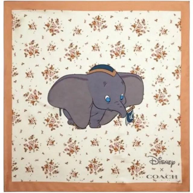 【COACH】Coach x迪士尼小飛象玫瑰花束印花真絲方巾圍巾