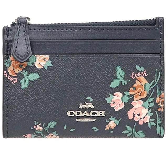 【COACH】藍X玫瑰花束PVC拉鍊式零錢包