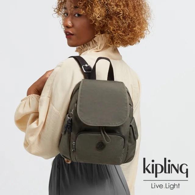 【KIPLING】炭焙濃韻綠拉鍊掀蓋後背包-CITY PACK MINI