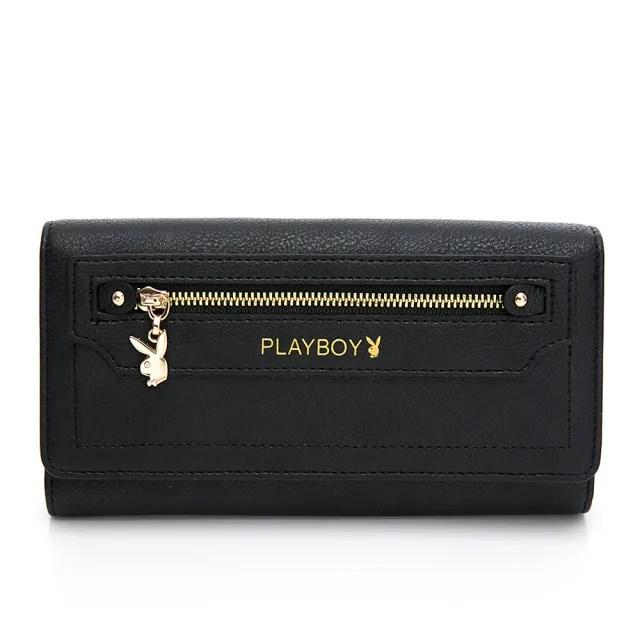 【PLAYBOY】翻蓋長夾 Original系列(黑色)