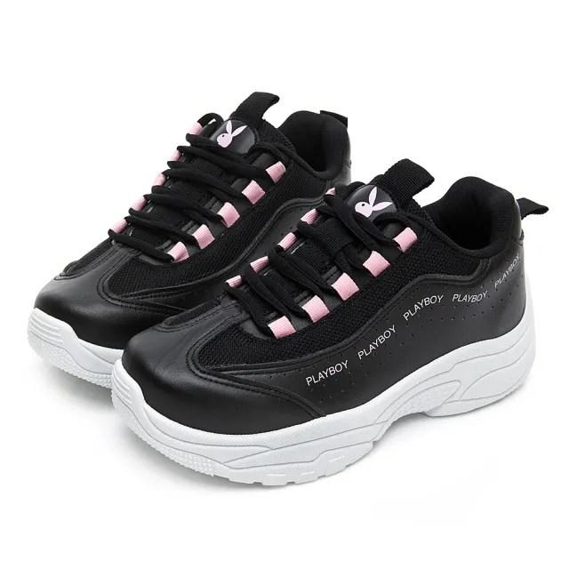 【PLAYBOY】活力青春 流線厚底老爹鞋-黑粉-Y6211C9