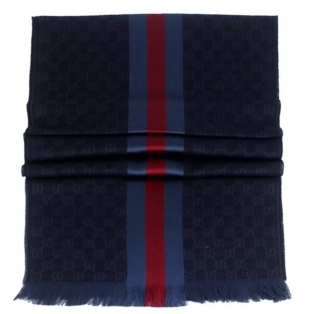 【GUCCI 古馳】藍紅條紋 G LOGO羊毛混紡圍巾(藍色)