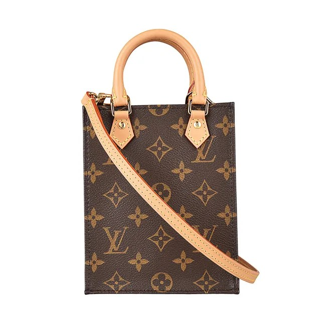 【Louis Vuitton 路易威登】LV M69442 PETIT SAC PLAT花紋LOGO Monogram帆布手提斜背包(棕咖啡)