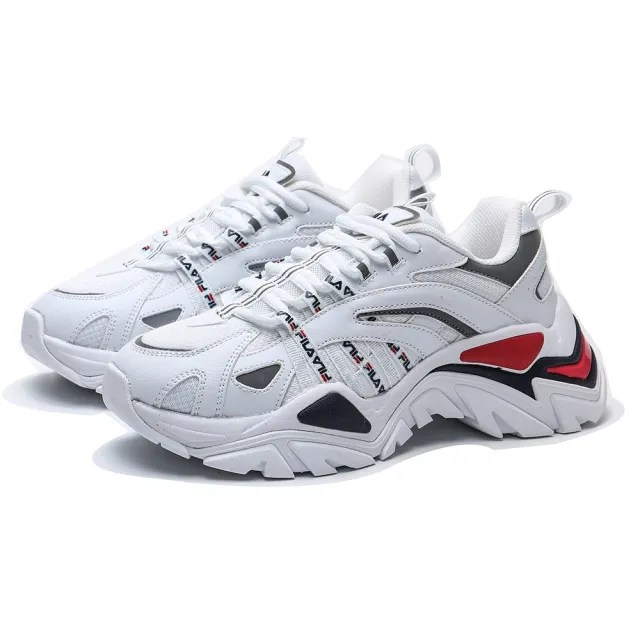 【FILA】老爹鞋 INTERATION 復古 厚底 增高 白藍紅 情侶款 休閒鞋 男女(4C602U125)