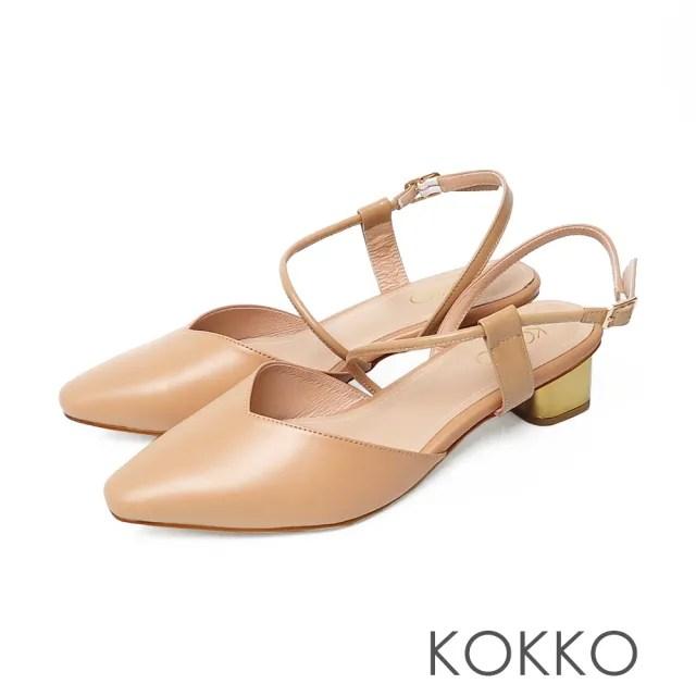 【KOKKO 集團】優雅方頭繞帶小羊皮粗跟鞋(奶茶色)