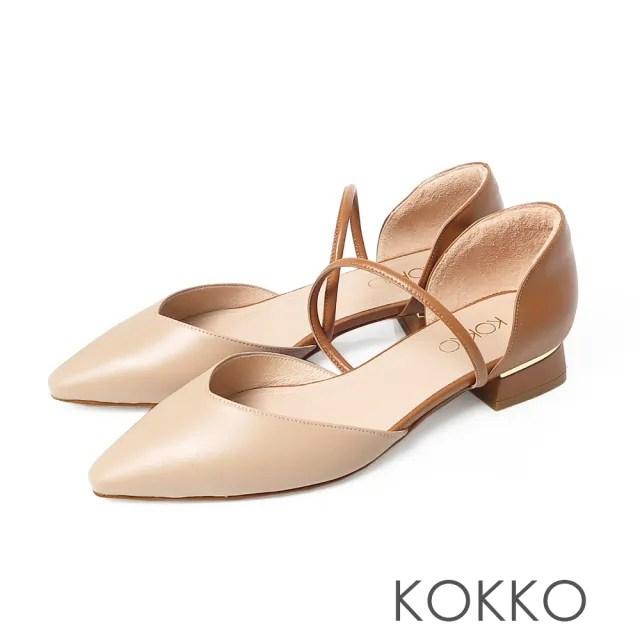 【KOKKO 集團】小方頭質感牛皮兩截中空粗跟鞋(奶茶色)