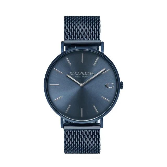 【COACH】紳士深藍圓框 米蘭錶帶【贈玻璃保護貼】(CO14602146)