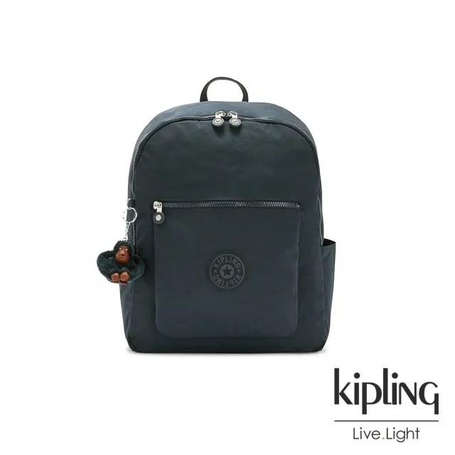 【KIPLING】沉穩素面藍前袋拉鍊後背包-CHUWY