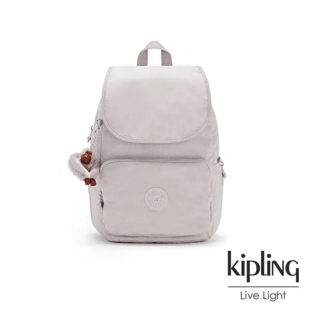 【KIPLING】優雅高級灰掀蓋拉鍊後背包-MEDIUM BACKPACK
