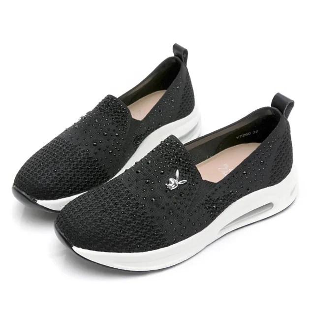 【PLAYBOY】飛織加大氣墊休閒鞋-黑-Y7260CC
