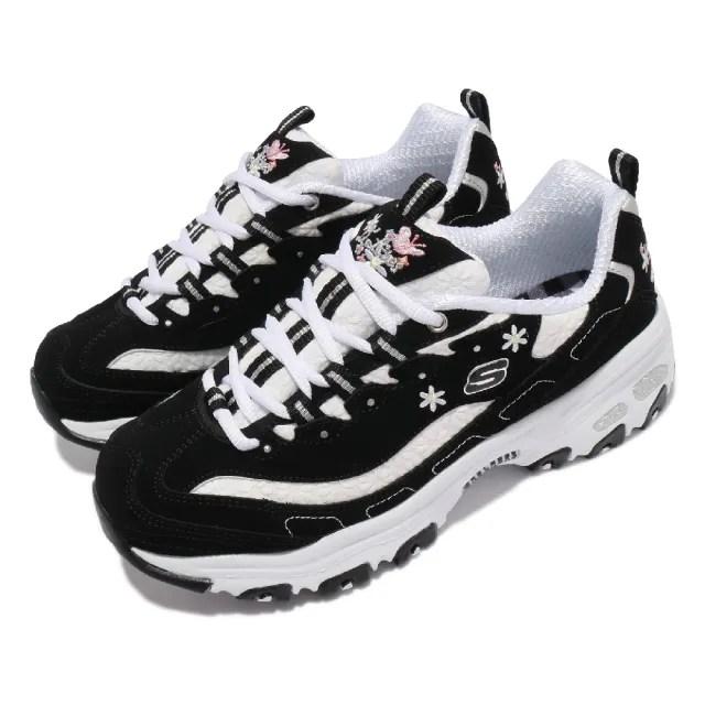 【SKECHERS】休閒鞋 D Lites-Flower Haze 女鞋 老爹鞋 厚底 斯小花 吸震 耐磨 黑 白(149466BKW)