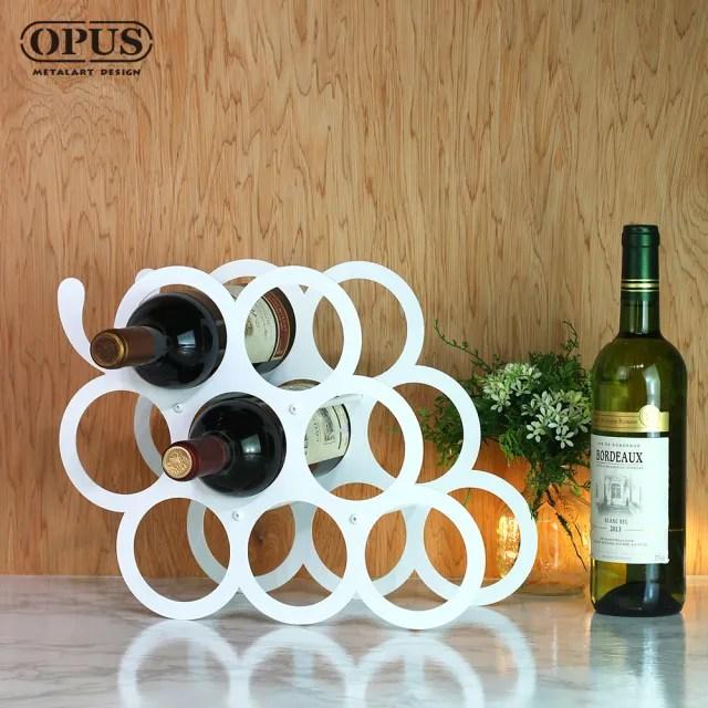 【OPUS 東齊金工】歐式鐵藝 酒瓶展示架/香檳酒托/紅酒櫃擺件/父親節禮物(WR-gr12W 豐收。葡萄酒架_優雅白)