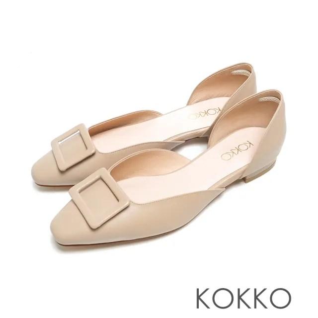 【KOKKO 集團】柔軟感綿羊皮方扣鏤空粗跟鞋(霧駝灰)