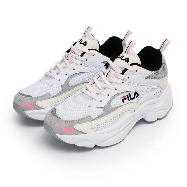 【FILA】女款米白色復古休閒老爹鞋NO.5j313v143