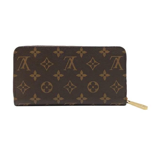 【Louis Vuitton 路易威登】Monogram帆布拉鍊長夾(M42616-咖)